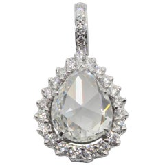 PANIM Diamond Drop Pendent, 3.35 Carat Rosecut Diamond set in 18K White Gold