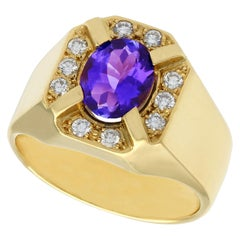 3.35 Carat Tanzanite and Diamond Yellow Gold Cocktail Ring