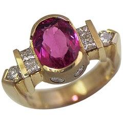 3.35 Carat TW Pink Rubellite, Set in 14 Karat Y Fashion Ring, Ben Dannie