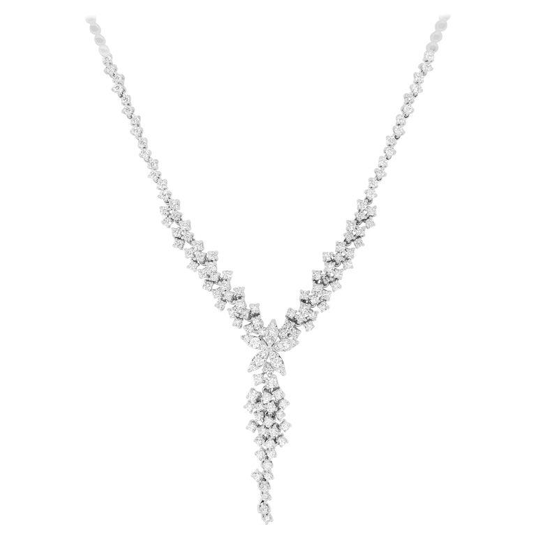 3.35 Carat White Diamond Flower Drop Fancy Tennis Necklace 14 Karat Gold For Sale