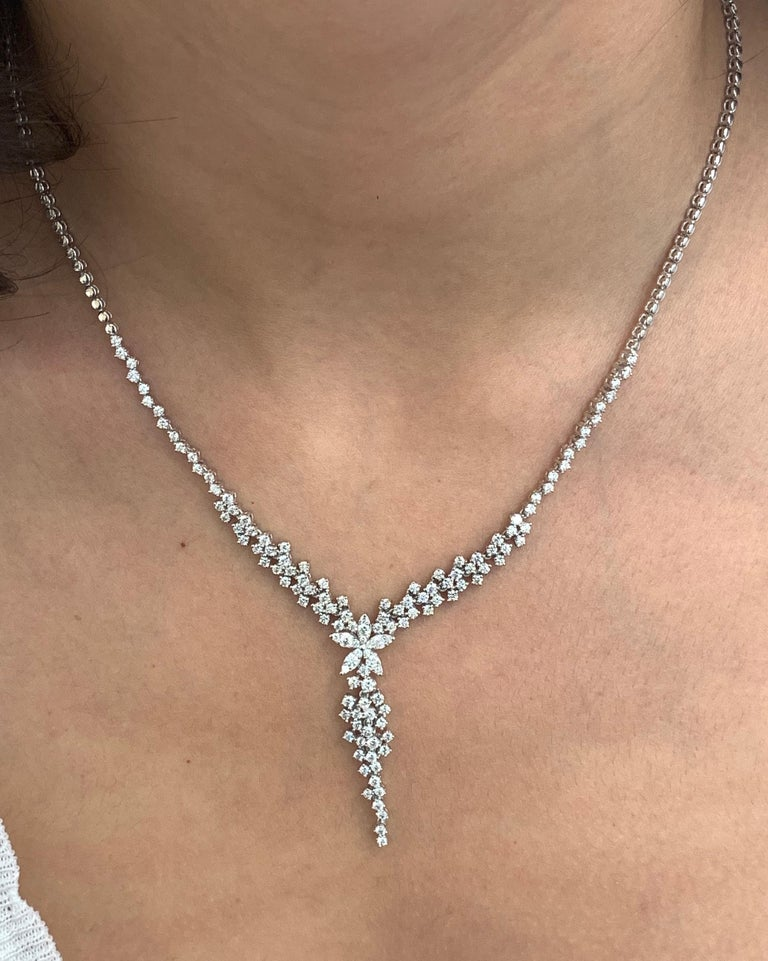 Contemporary 3.35 Carat White Diamond Flower Drop Fancy Tennis Necklace 14 Karat Gold For Sale