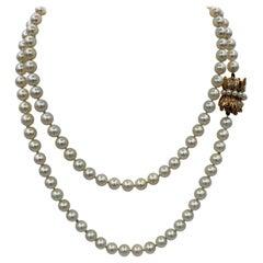33.5 Inch Pearl Necklace Retro 14 Karat Gold Clasp Ambassador Galbraith Estate