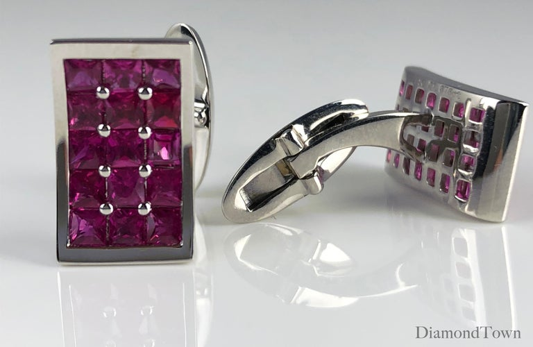 These classic cufflinks feature 15 Fine Burmese Rubies each, for a total carat weight of 3.36 carats. Set in 18k White Gold.  Many of our items have matching companion pieces. Please inquire.  An insurance appraisal certificate (COA) will be