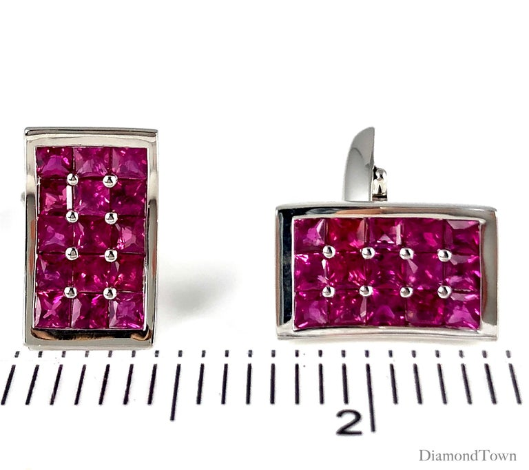 Contemporary 3.36 Carat Fine Burmese Ruby Cufflinks in 18 Karat White Gold For Sale
