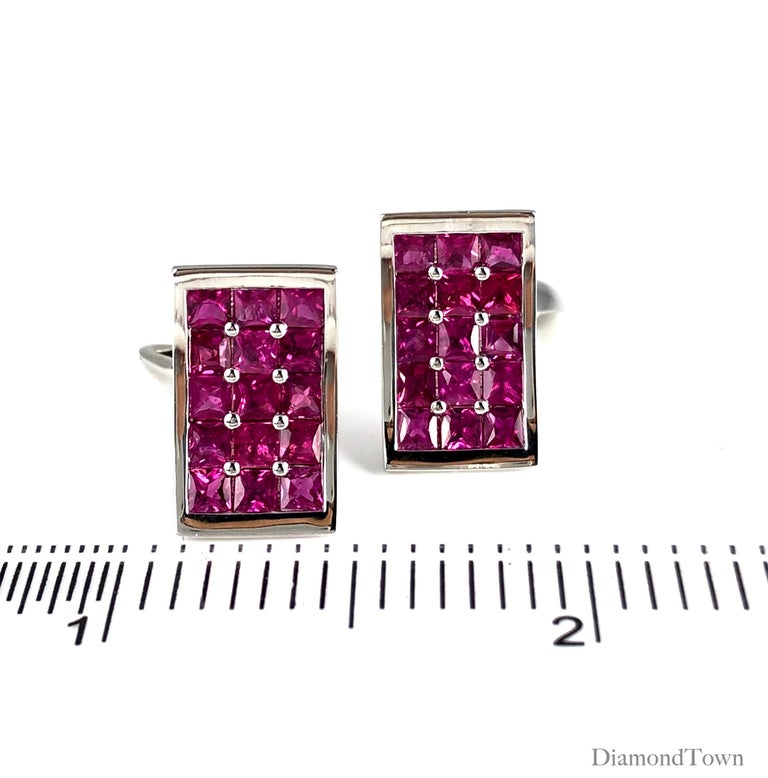 3.36 Carat Fine Burmese Ruby Cufflinks in 18 Karat White Gold In New Condition For Sale In New York, NY