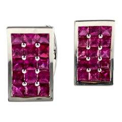 DiamondTown 3.36 Carat Fine Burmese Ruby Cufflinks in 18 Karat White Gold