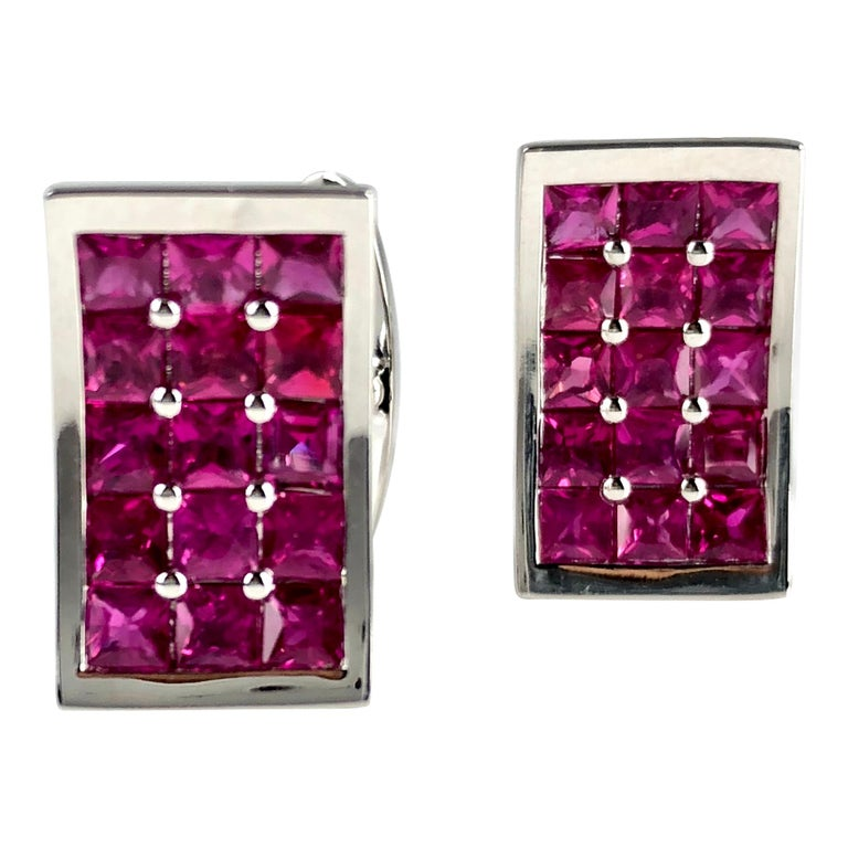 3.36 Carat Fine Burmese Ruby Cufflinks in 18 Karat White Gold For Sale