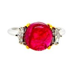 "3.36 Carat GIA Certified Unheated Burmese ""Mogok"" Ruby and White Diamond Ring"
