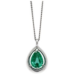 3.36 Carat Pear Shaped Emerald Platinum Pendant and Diamond Chain