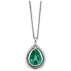 3.36 Carat Pear Shaped Emerald Platinum Pendant and Diamond Chain