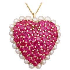 3.36 Carat Ruby and Seed Pearl, Yellow Gold 'Heart' Pendant / Brooch