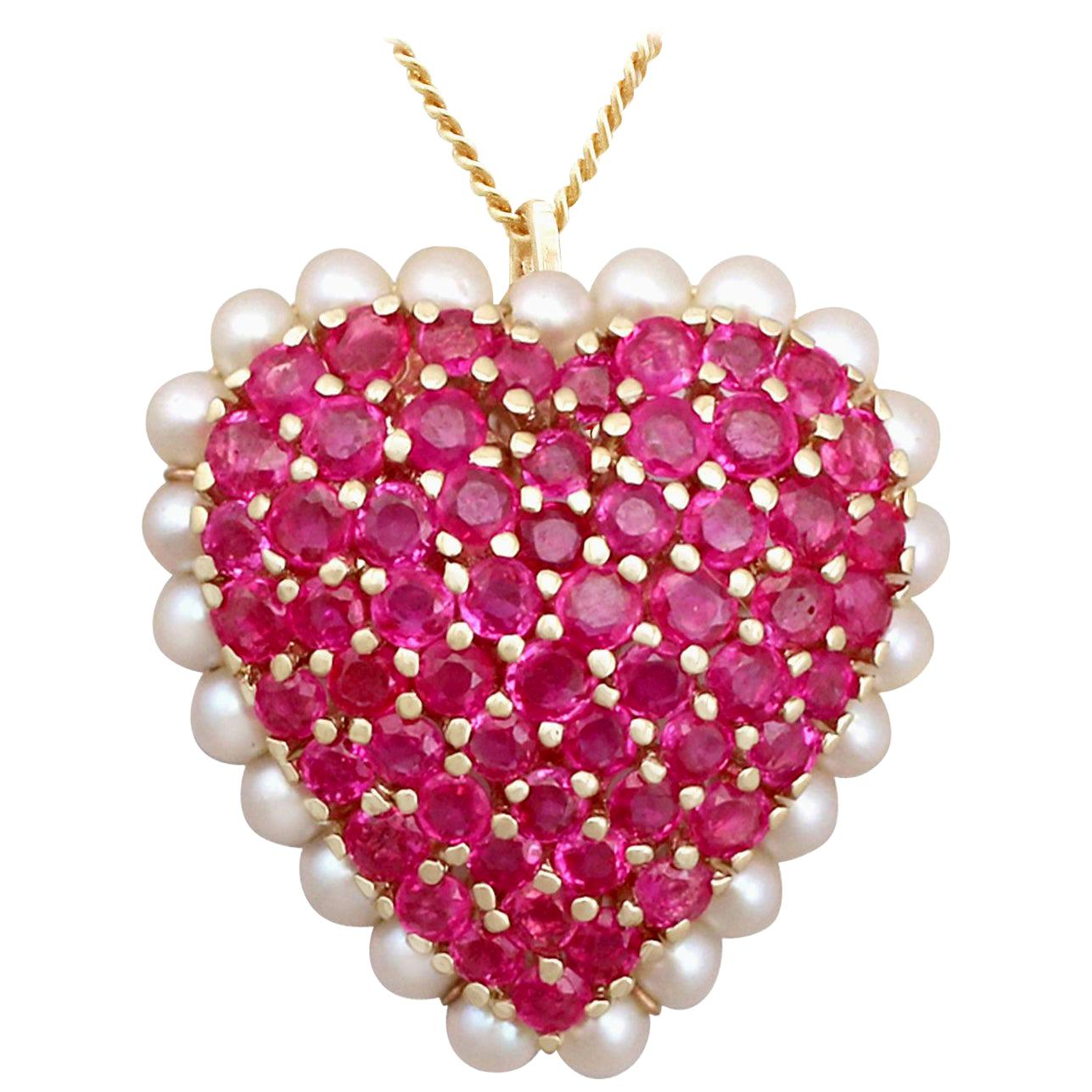 3.36 Carat Ruby and Seed Pearl Yellow Gold Heart Pendant Brooch