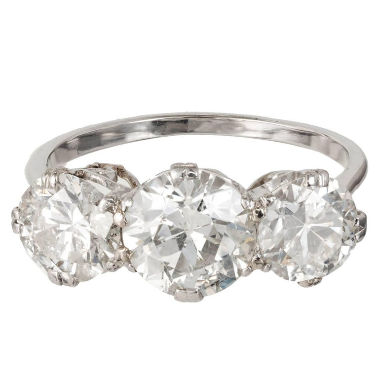 3.36 Carat Three-Stone Art Deco Diamond Platinum Engagement Ring