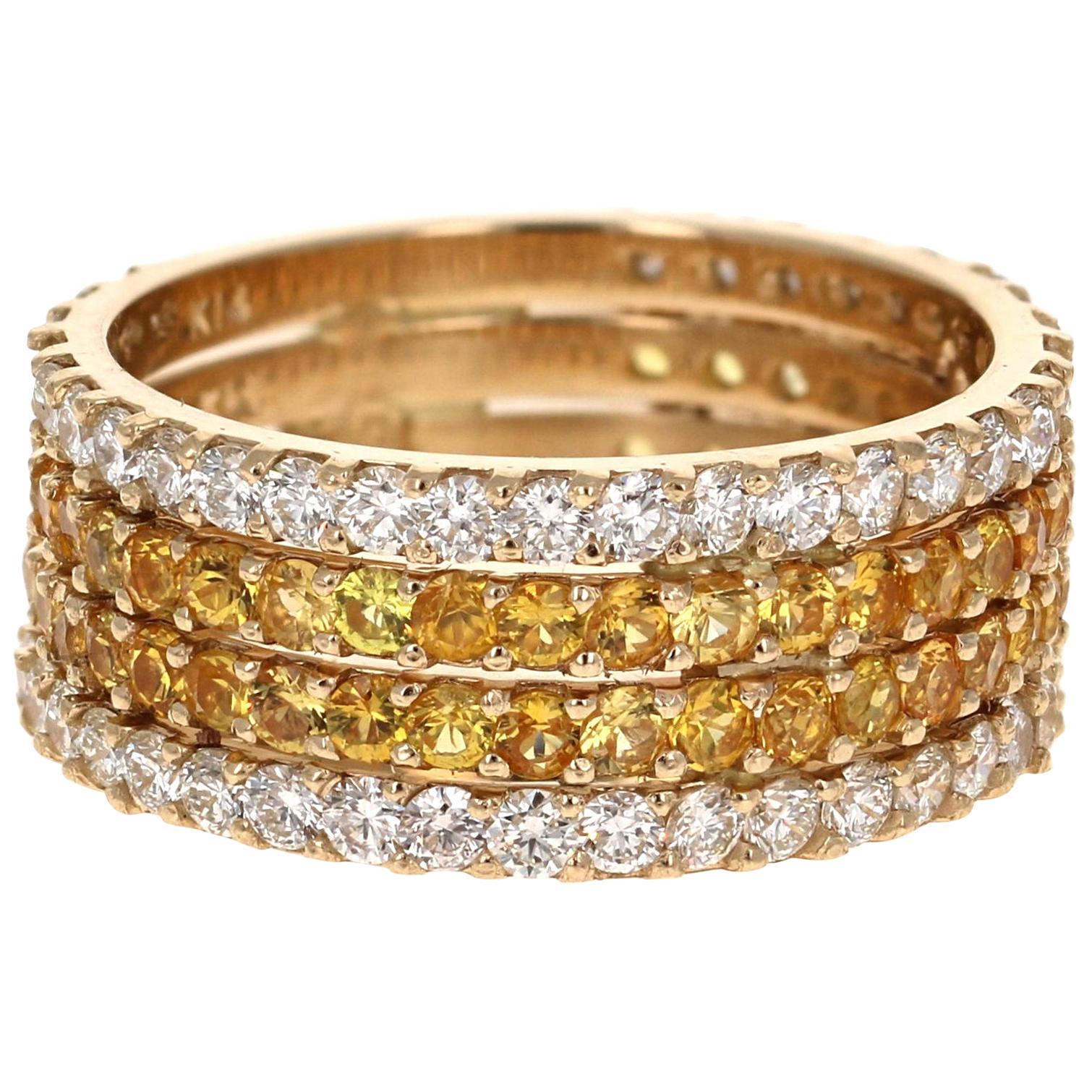 3.36 Carat Yellow Sapphire and White Diamond 14 Karat Yellow Gold Band