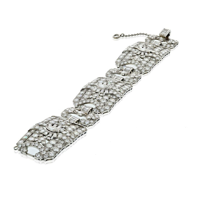 Modern 33.60 Carat Art Deco Platinum Diamond Bracelet For Sale