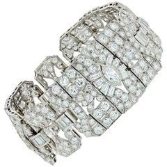 33.60 Carat Art Deco Platinum Diamond Bracelet