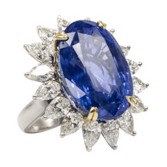 33.64 Carat Natural Unheated Sapphire and Diamond Ring
