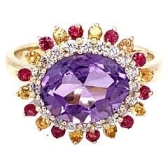 3.37 Carat Amethyst Diamond Sapphire 14 Karat Yellow Gold Cocktail Ring