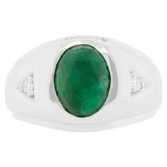 3.37 Carat Oval Emerald and Round Diamond Men Ring Band 14K White Gold