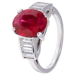 3.37 Carat Red Ruby and Diamond Platinum Ring