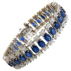 33.75 Carat Natural Gem Sapphire Diamond Bracelet Three-Row and Wide Cuff