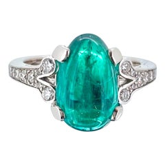3.37ct Colombian Emerald Cabochon Cut and Diamonds Platinum Ring