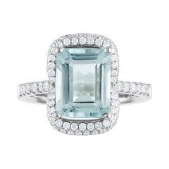 3.38 Carat Aquamarine and Diamond Gold Ring