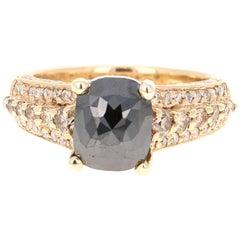 3.38 Carat Black White Diamond 14 Karat Yellow Gold Ring