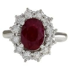 3.38 Carat Natural Ruby 18 Karat White Gold Diamond Ring