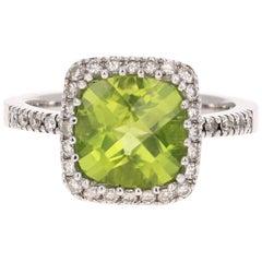 3.38 Carat Peridot Diamond Engagement White Gold Ring