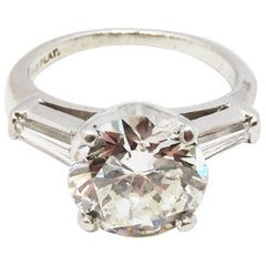 3.38 Carat Round-Cut Diamond on Platinum Ring with Two Diamond Baguettes, 1967