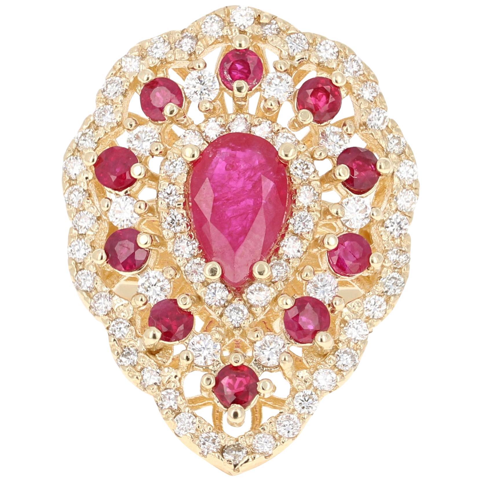 3.38 Carat Ruby Diamond 14 Karat Yellow Gold Cocktail Ring