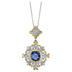 3.38 ct. Sapphire, Diamond 18k White and Yellow Gold Handmade Drop Pendant