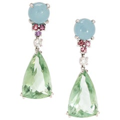 33.84 Carat Trillion Green Amethyst, Aquamarine, Red and Pink Spinel Earrings