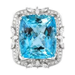 33.88 Carat Aquamarine and Diamond Ring in 18 Karat White Gold