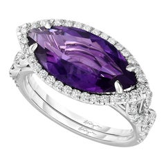 3.38ct. Marquise Amethyst and Diamond Halo Platinum Cocktail Ring