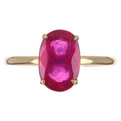 3.38cts 14K 4-Prong Oval Natural Ruby Solitaire Ring