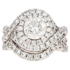 3.39 Carat Diamond All-in-One Halo Ring and Wedding Band 14 Karat Gold GSI