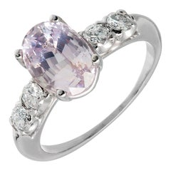 3.39 Carat GIA Certified Pink Oval Sapphire Diamond Platinum Engagement Ring