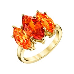3.39 Carat Marquise Cut Spessartite Garnet 3-Stone Cocktail Ring 18k Yellow Gold