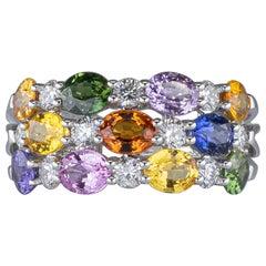 3.39 Carat Multi-Color Sapphires Ring with Diamonds 18 Karat Gold