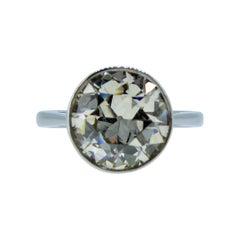 3.39 Carat Old European Cut Diamond Solitaire Ring, Platinum
