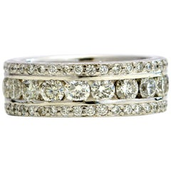 3.39 Carat Platinum Diamond Triple-Row Eternity Band Ring