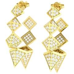 3.39 Carat Spike Diamond 18 Karat Gold Hoop Earrings