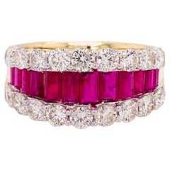 3.4 Carat Diamond and Ruby Baguette Tapered Ring in Yellow Gold