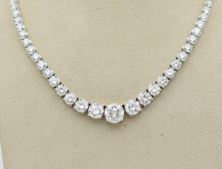 When it comes to a 34 carat Riviera Diamond Necklace, they do not get much better than this one!  The diamonds have all been matched and sorted perfectly and are all triple excellent cut diamonds.  These diamonds are all G color and VS2-SI1 in