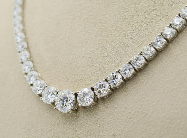Round Cut 34 Carat Diamond Riviera Necklace in Platinum with GIA Certified Excellent Cuts For Sale
