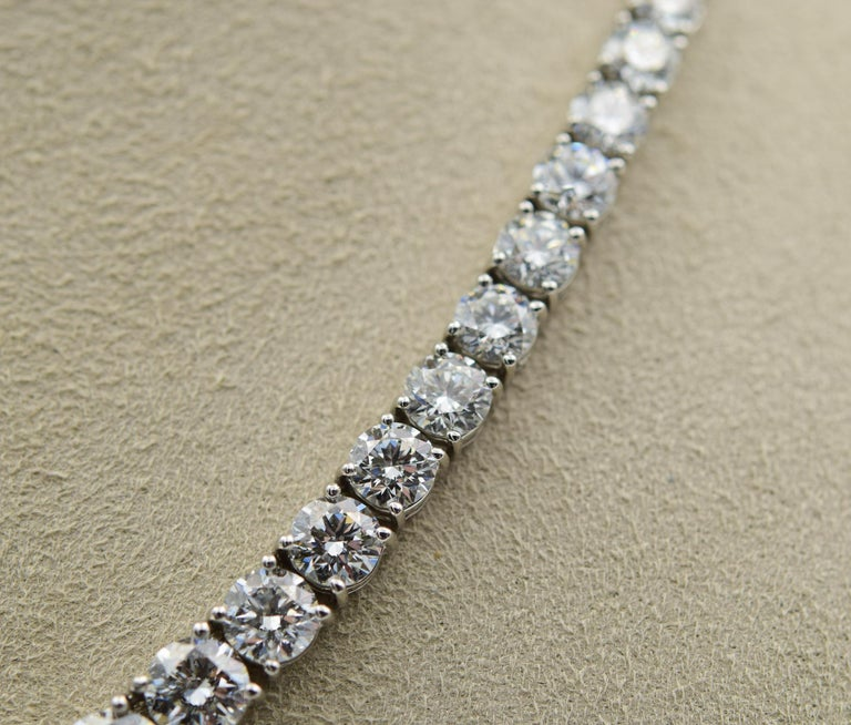 34 Carat Diamond Riviera Necklace in Platinum with GIA Certified Excellent Cuts In New Condition For Sale In Carmel, IN