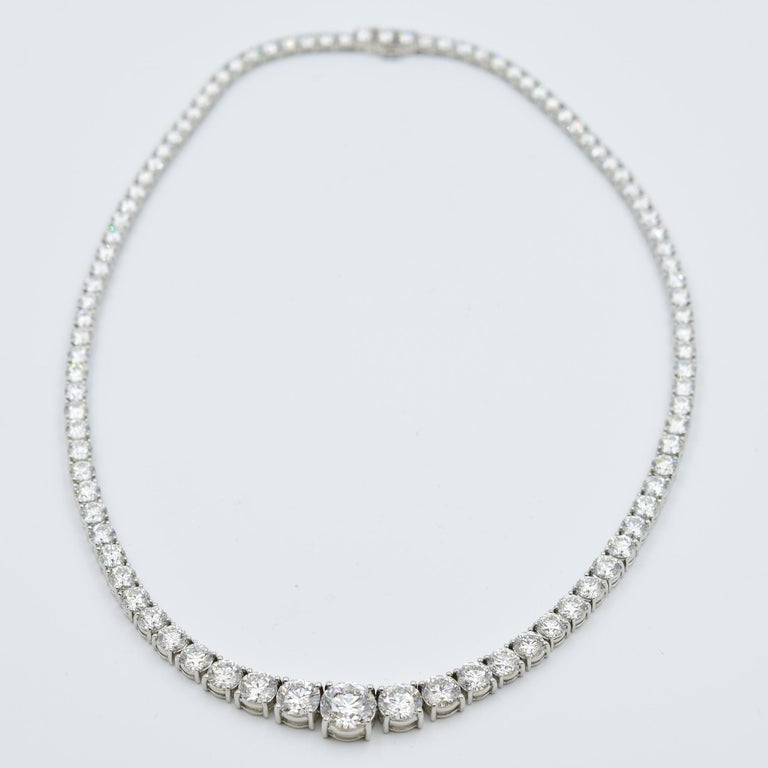 Women's 34 Carat Diamond Riviera Necklace in Platinum with GIA Certified Excellent Cuts For Sale