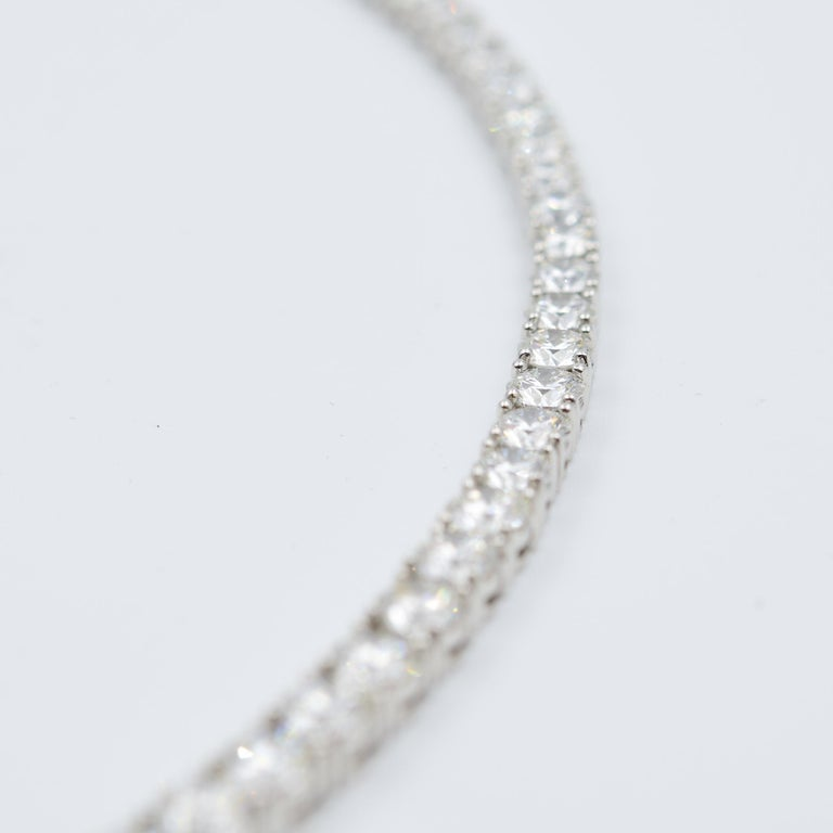 34 Carat Diamond Riviera Necklace in Platinum with GIA Certified Excellent Cuts For Sale 1